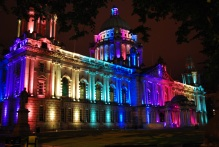 Belfast City Hall lit up in honour of Belfast Pride Festival 2013. © 2013 MJPB Carchrie Campbell