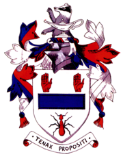 The achievement of arms of my old school, Ballymena Academy.