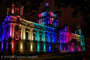 Belfast's city hall lit up to celebrate Belfast Pride. © 2013 Michael Carchrie Campbell