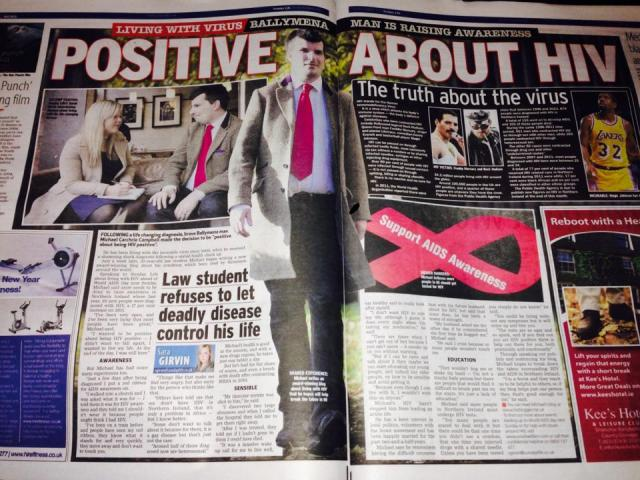"""Photo of """"Positive about HIV"""" article by Sara Girvin in the Sunday Life 24 Nov 2013."""