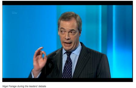 Nigel Farage during the Leaders' Debate.
