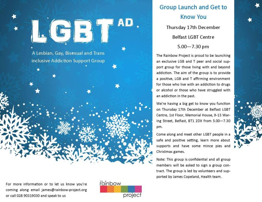 New LGBT addiction peer support group in Belfast