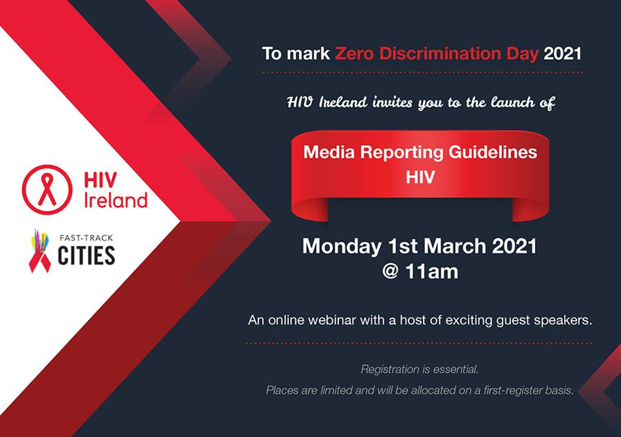HIV Ireland invitation to Media Reporting Guidelines launch.